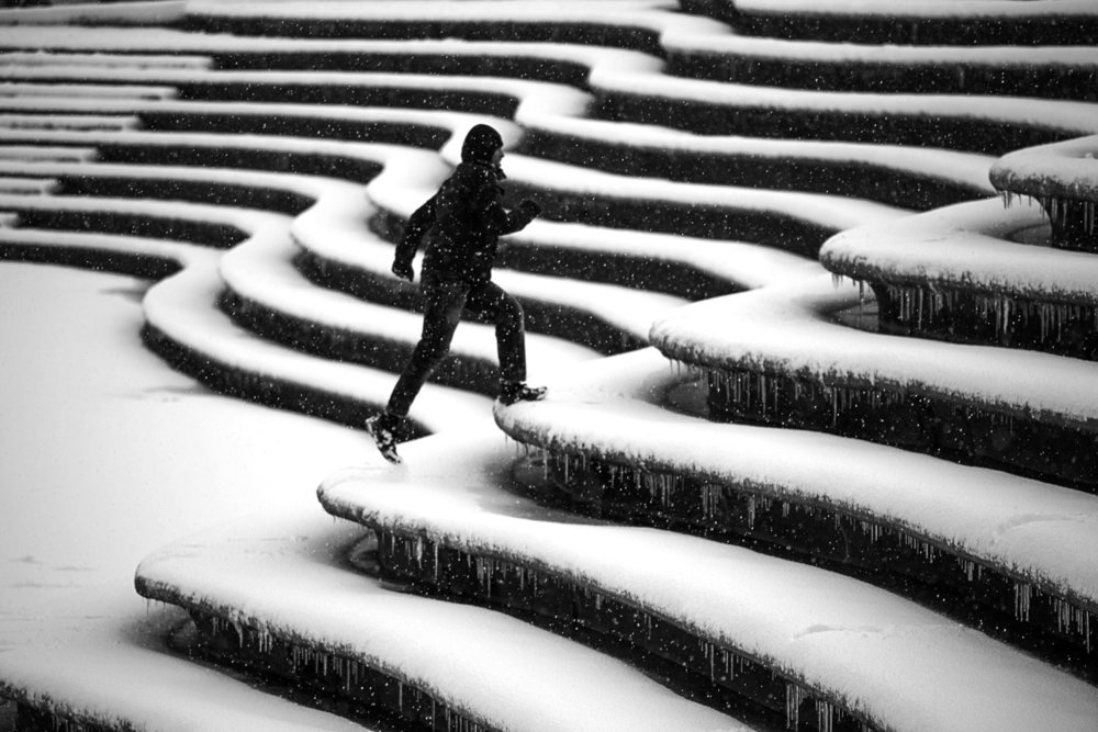 Photographer:  Farnaz Damnabi   Country:  Iran  Title:  Stairs and Snow