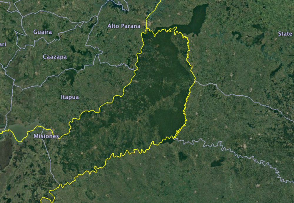 The province of Misiones, Argentina juts out into monocropped Paraguay and Brazil. Misiones is known for its national parks and agroforestry