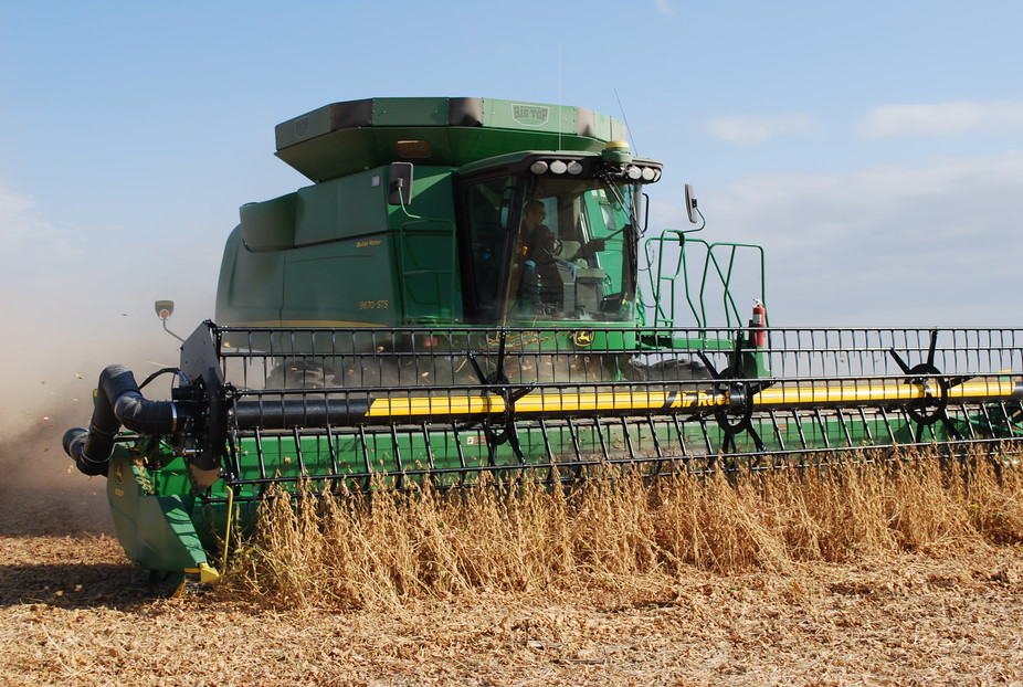 A farmer harvests soybeans near Lenox, Iowa.Drake University Agricultural Law Center,Author provided