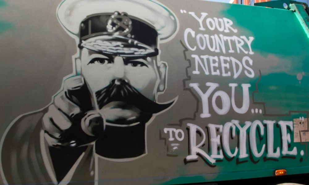 Wimbledon, London, UK. 27th April, 2015. A waste management company named Dirty Harry uses a poster of Lord Kitchener to urge the public to recycle.Photograph: Amer Ghazzal/Alamy
