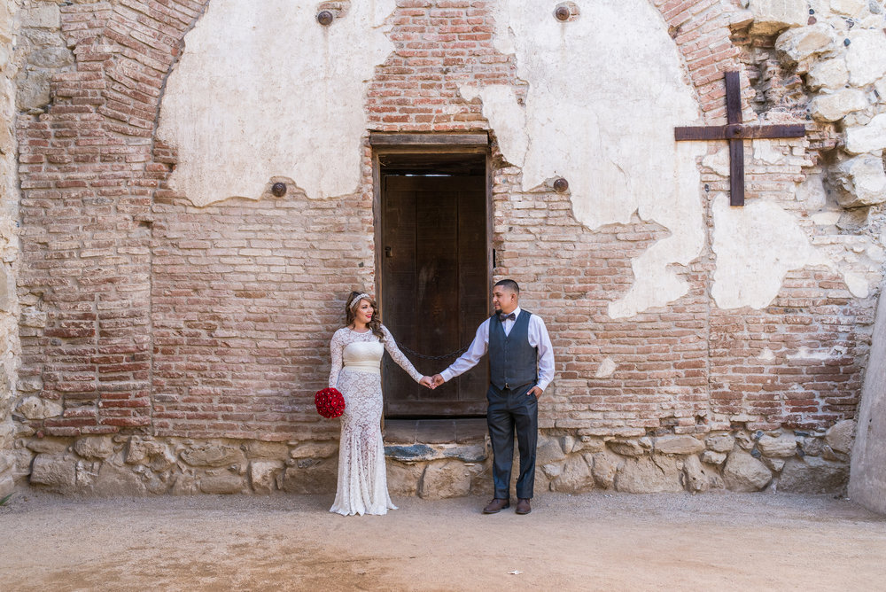 Then you can go all out and dress like this couple. Super classy for a great location. This was shot at San Juan Capistrano Mission. You can tell they dressed for the occasion although such an outfit could also look great for an urban location like Down Town Los Angeles.