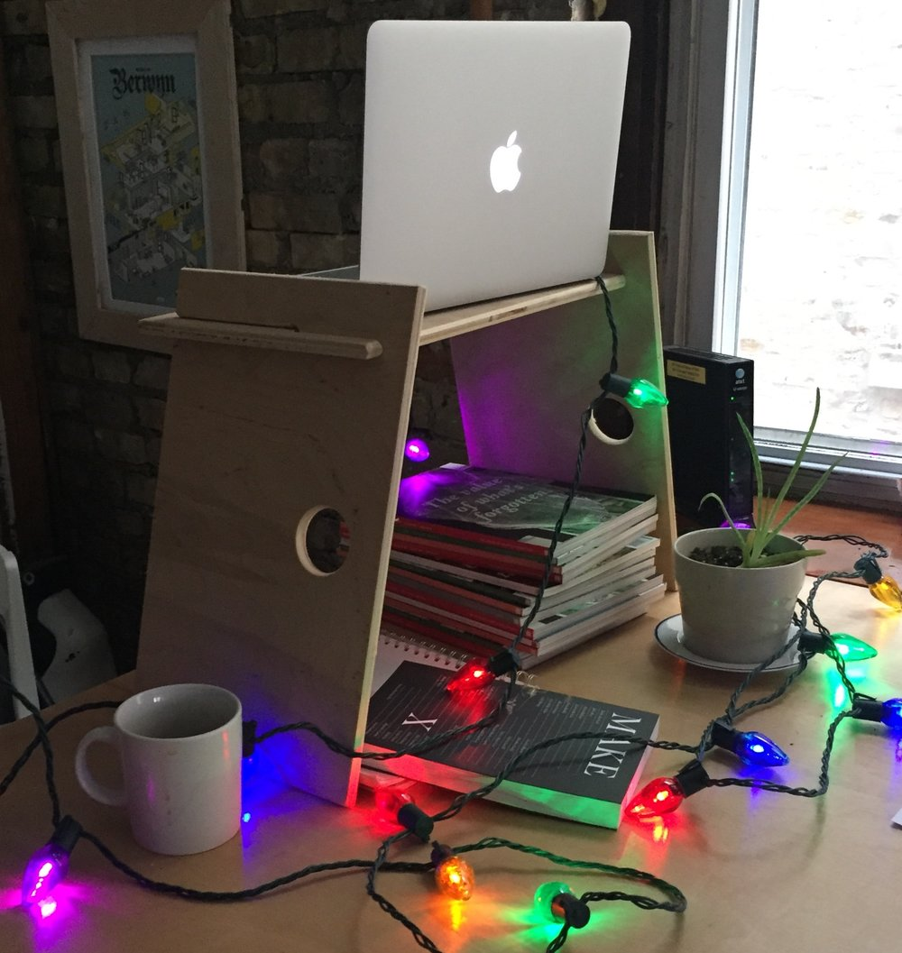$250 contribution and a custom-made standing desk - Sick of sitting at your desk all day? Contribute $250 and resident craftsman Mike Drew will create a