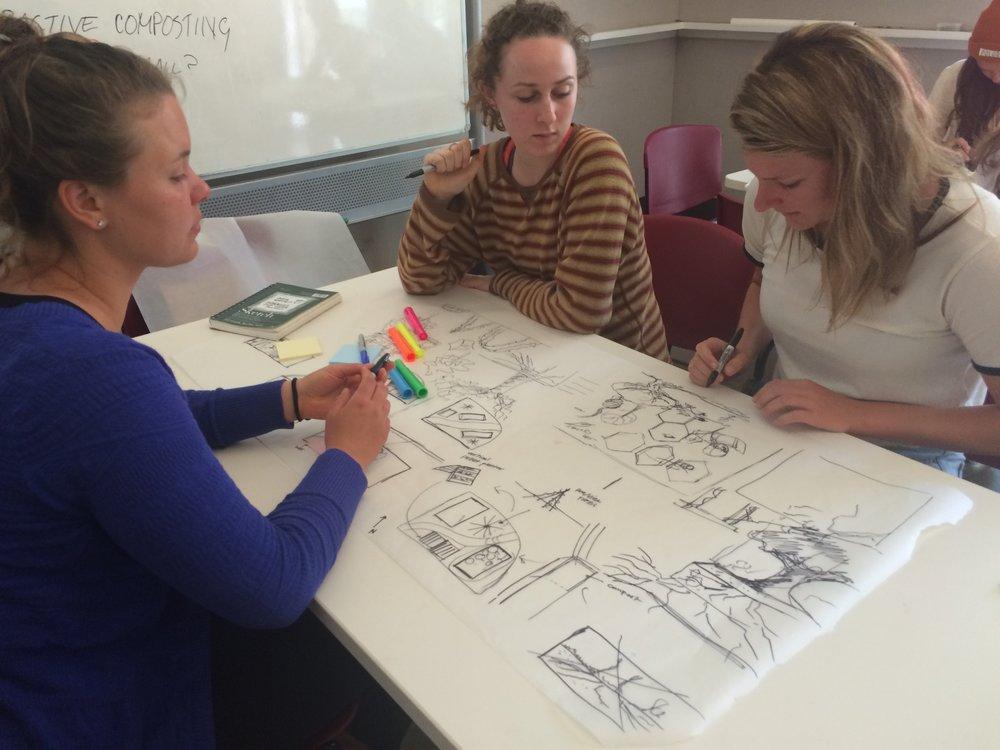 Brainstorming session: Julia Warden, Kennedy Wells, Emily Horowitz