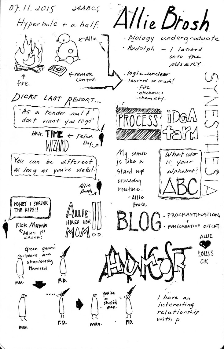 Talk by Allie Brosh from Hyperbole and a half.  Notes by Sahoko Yui