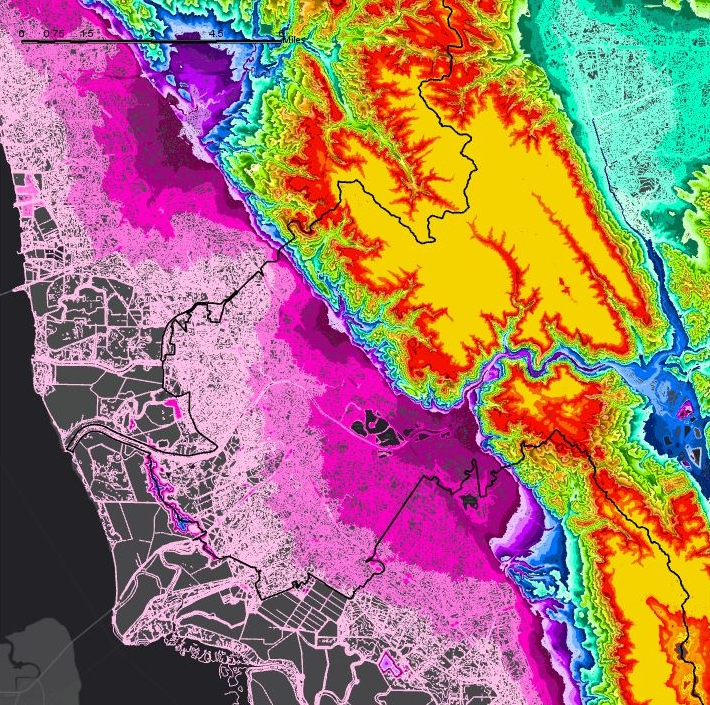 "Elevation map of the Alameda Creek watershed (Fremont, Union City, Newark area). The map was used to create a 30""x30"" model used for community engagement events."