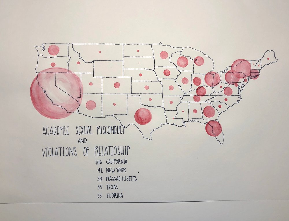 Tranquil: Academic Sexual Misconduct. Water is often associated with tranquility but I used it to color in the dots of sexual misconduct in academia. A lot of brilliant and amazing researchers and instructors have left academia because of their experience. Data from Geocognition Research lab.