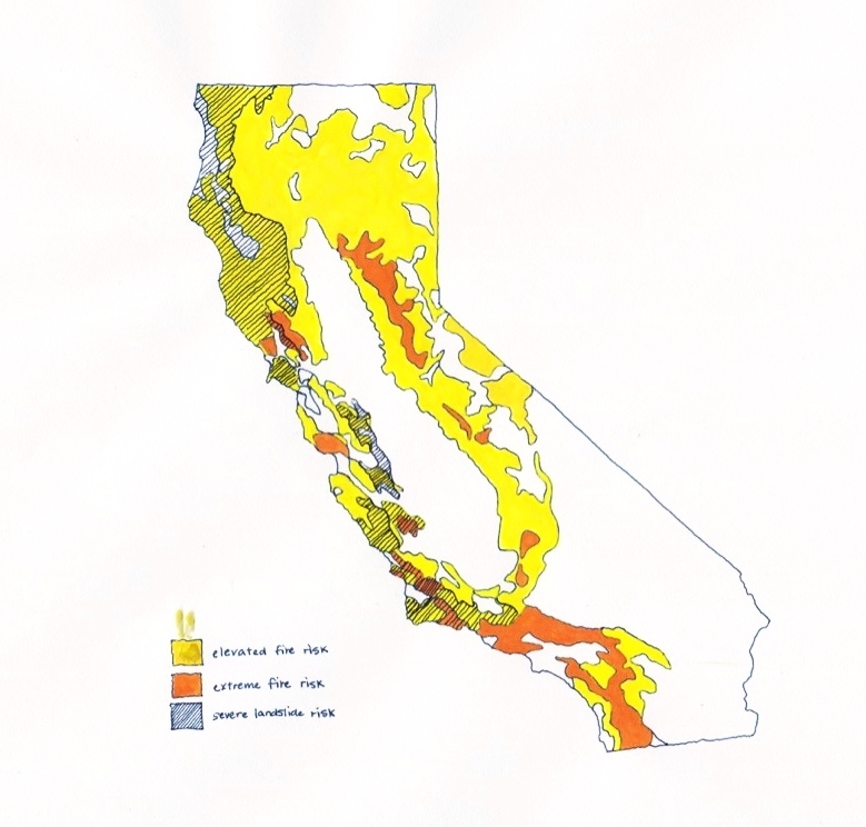 Scorched. Fire and Landslide Risk. Severe fires decrease the ability of soil to absorb water (from several inches per hour to a 1/3 of an inch per hour) making post-fire areas susceptible to landslides. Coastal California has the highest risk. Data from  American Geophysical Union  and  California Public Utilities Commission.