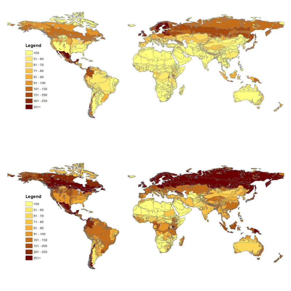 Mapping Global Carbon:  Two articles published from this research:   1) New Estimates on Soil and Biomass Stocks for Global Economic Models (2014)  , and     2) AEZ-EF Model A model of GHGe from land use change for use with AEZ-based economic models (2014)   .