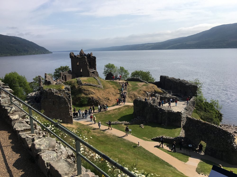This is a view of Urquhart Castle from the top of what remains of the western tower. Following the end of the Jacobite Rebellion, Scotland was officially annexed to England and there was no longer the need for the English military presence. The entryway into the castle was filed with black powder and destroyed so none of the local clans could occupy it and use it as a stronghold from which they could incite another rebellion.
