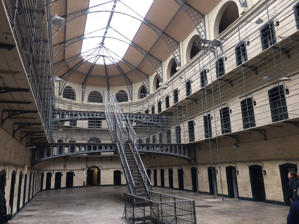 Kilmainham Goal  The Victorian addition. Build in 179 the jail was in use until 1924  Interestingly it was a home and sometime site of execution to up to 160 political prisoners in favor of ireland Independance. From 1922 on it housed prisoners who were opposed to Ireland Independance