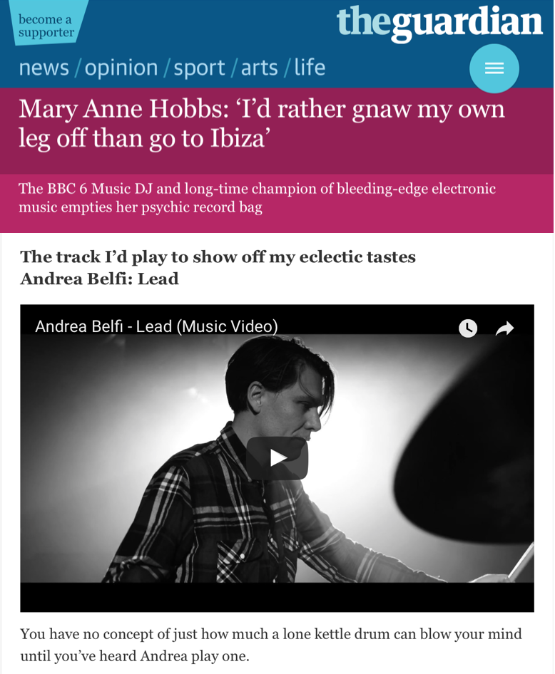 ANDREA BELFI'S LEAD FEATURED IN MARY ANNE HOBBS'S RECORD BAG FAVOURITES