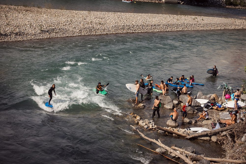 Summer surf lineup at 10th Street Wave