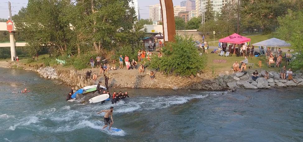 Spectators enjoying the surf scene