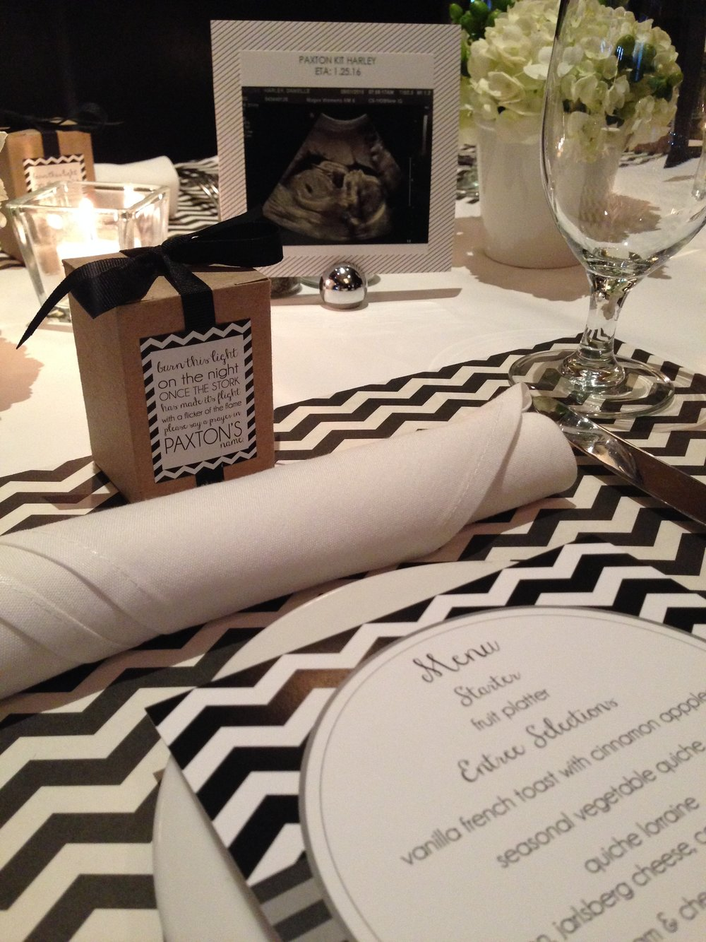 BABY PAXTON'S SHOWER WAS ONE OF OUR FAVORITES...NOT A DETAIL WAS MISSED. THE CUSTOM CANDLE FAVOR WAS A HIT!