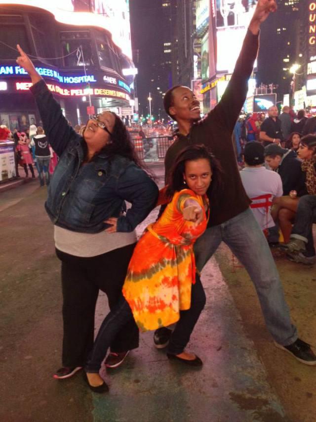 Jennie, Anginese & Kadeem in Times Square, New York City.