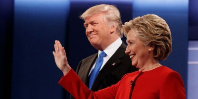 Donald Trump & Hillary Clinton during their first debate on Monday, September 26th 2016 at Hofstra University.