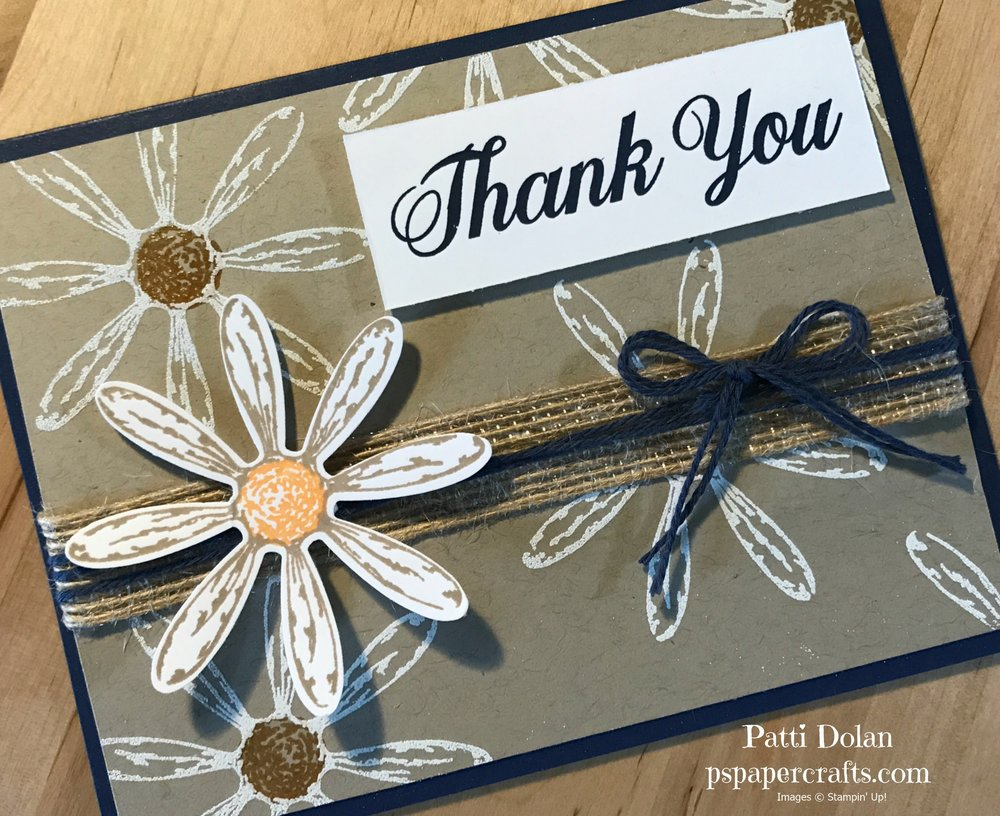 This card has the Daisy punch with Peekaboo Peach stamped in the center.