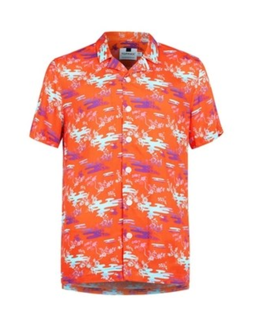 Topman Orange Print Short-Sleeve Shirt