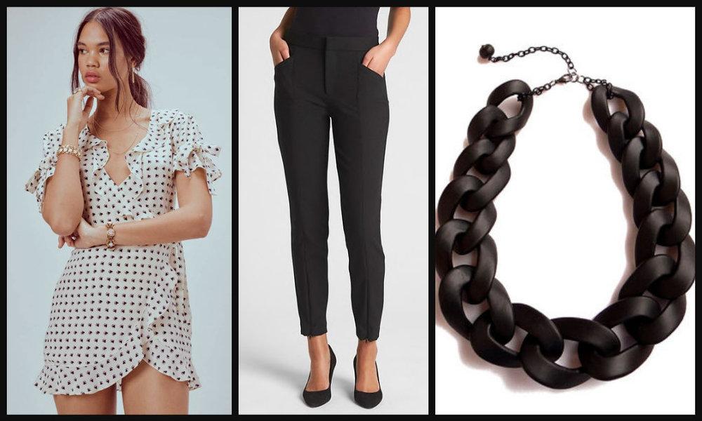 Dress:  $230 / Pants:  $32 / Necklace:  $39