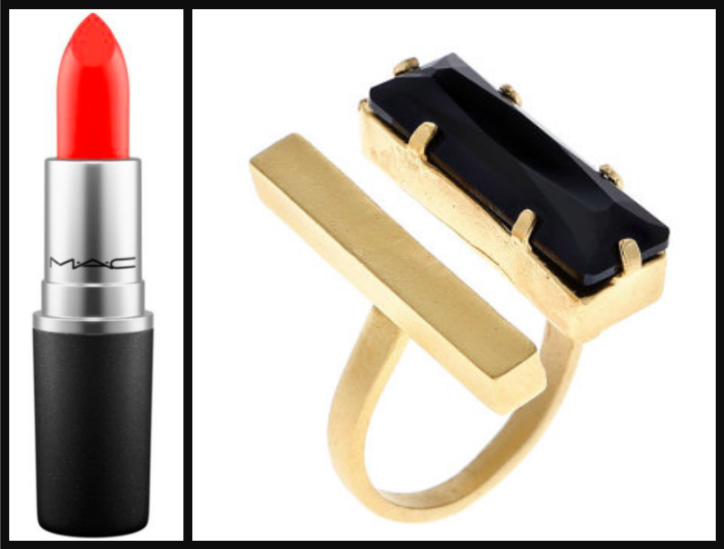 Lipstick:  $18.50 / Cocktail ring:  $55