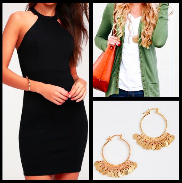 Dress:  $28 / Cardigan:  $18 / Earrings:  $55