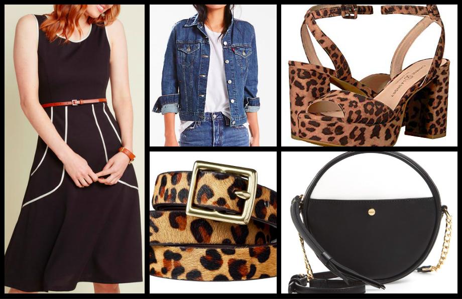 Dress:  $69  / Jacket:  $68  / Belt:  $16  / Shoes:  $69  / Handbag:  $54