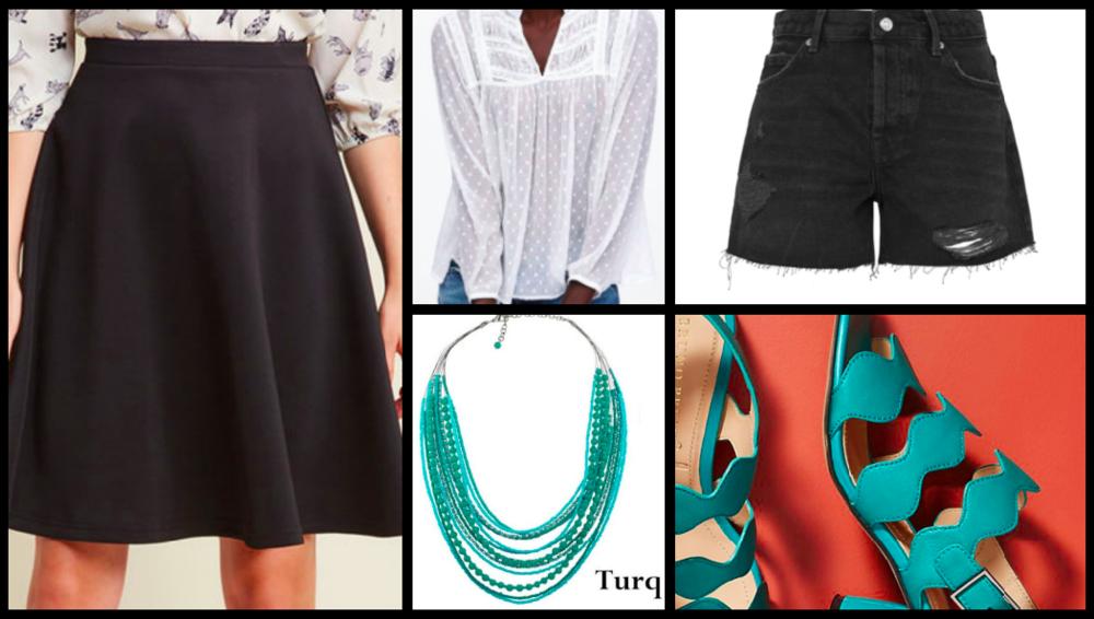 Skirt:  $45  / Blouse:  $39  / Necklace:  $25  / Shorts:  $38  / Shoes:  $89