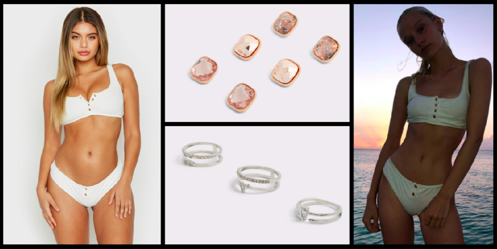 Bikini Top:  $90 / Bikini Bottom:  $80 / Earrings:  $10  / Rings:  $12