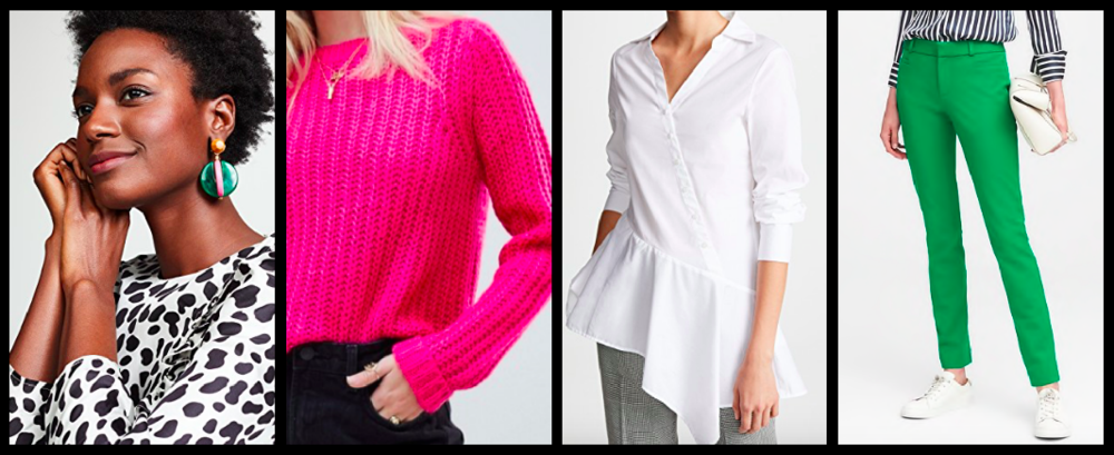 Earrings:  $135  / Sweater:  $35  / White Blouse:  $148  / Pants:  $53