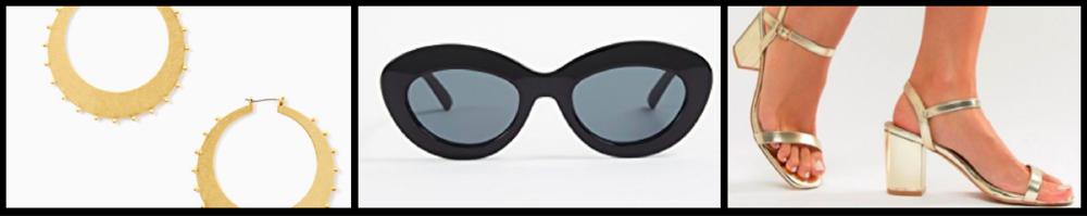 Earrings:  $68  / Sunglasses:  $69  / Shoes:  $38