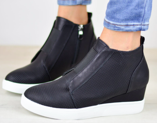 Comfort Zipper Wedge Sneakers $38