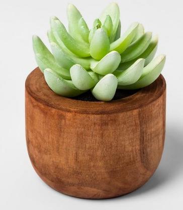 Faux Succulent in Wood Pot Plant