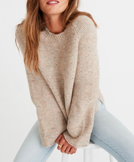 Flecked Wide-Sleeve Pullover Sweater
