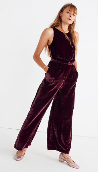 Velvet Twist-Front Jumpsuit