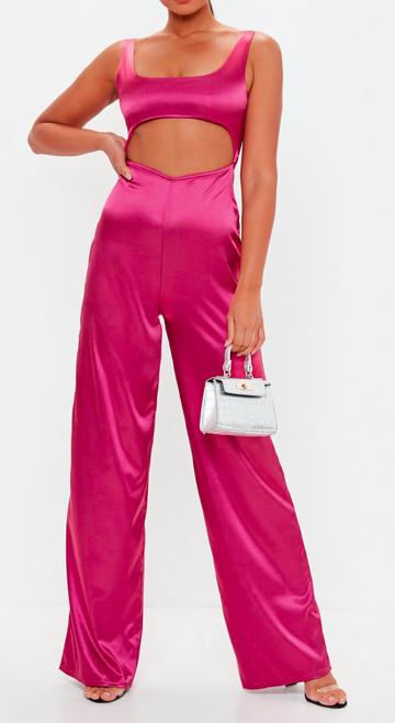 pink cut out satin jumpsuit