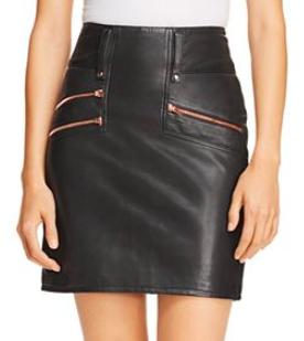 Hudson High Rise Leather Mini Skirt