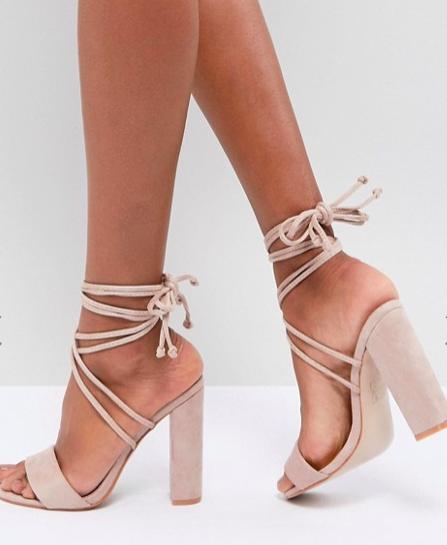 Public Desire Suzu Tie Up Block Heeled Sandals