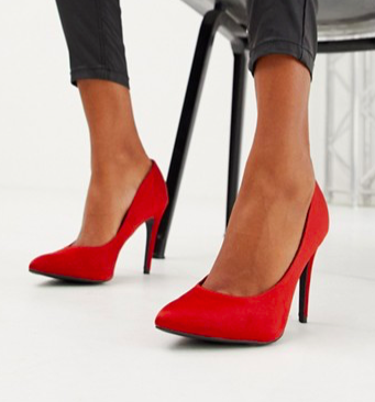 New Look satin pointed pumps in orange
