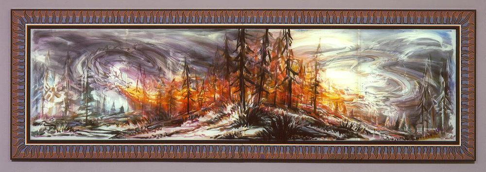 "Double Dragon Fire , 2004  Silk dye, acrylic, metallic textile paint  55"" x 168"""