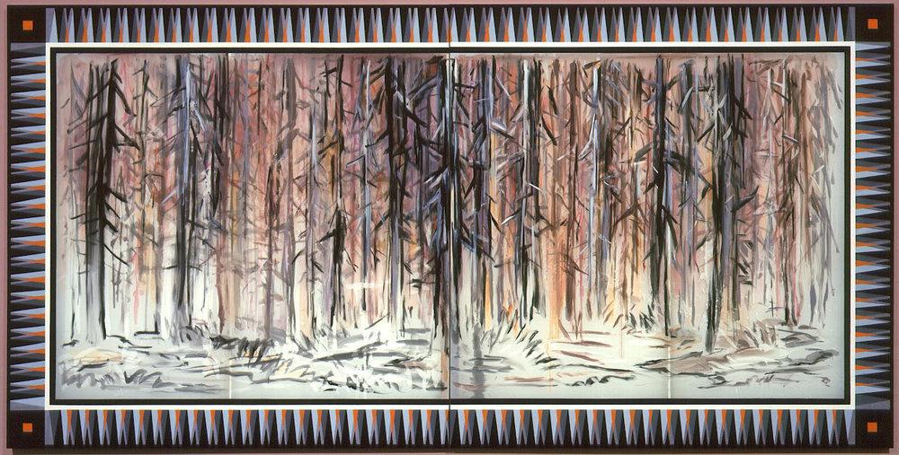 """Aftermath , 2004  Silk dye, acrylic, metallic textile paint  73"""" x 144"""""""