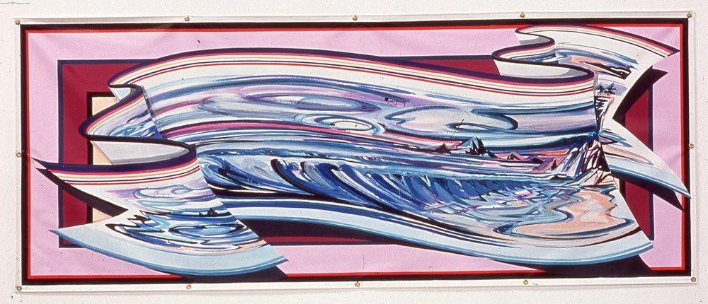 "Ocean wit Pink Line,  2001   Enamel on vinyl commercial banner   42 1/4"" x 105 1/2"""