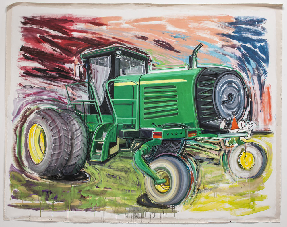 "Big Love (John Deere #3) , 2013  Acrylic on  unstretched canvas  118"" x 146"" inches   Photo credit: Grant Mudford"