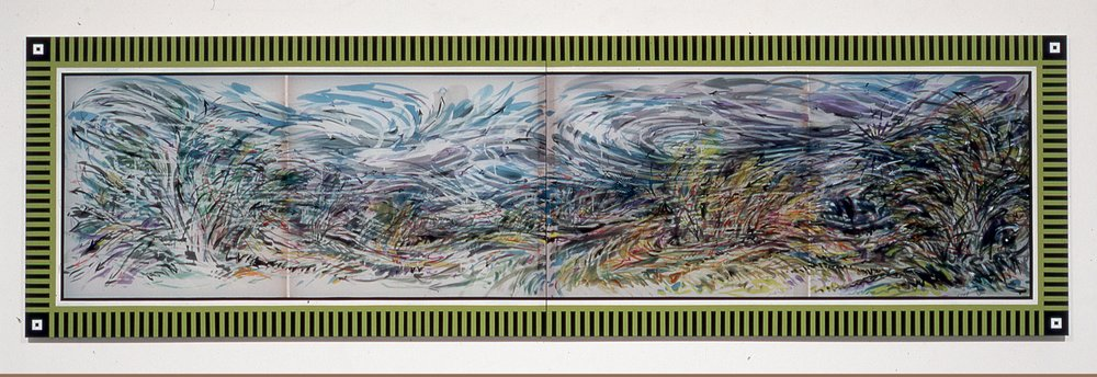 """Wind Swept , 2005  Ink, silk dye and acrylic on silk  40"""" x 127 1/4"""" two panels"""