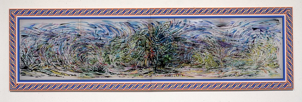 """Wind Blown,  2005  Ink, silk dye and acrylic on silk  40"""" x 127 1/4"""" two panels"""
