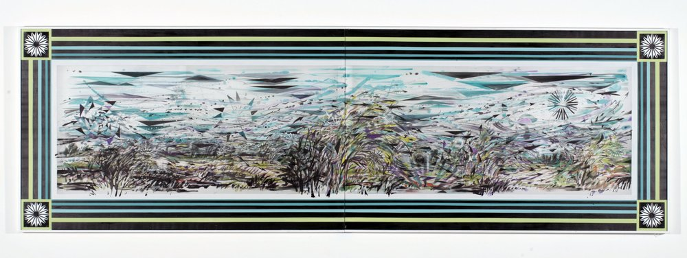 """Currents , 2005  Ink, silk dye and acrylic on silk  40"""" x 127 1/4"""" two panels"""
