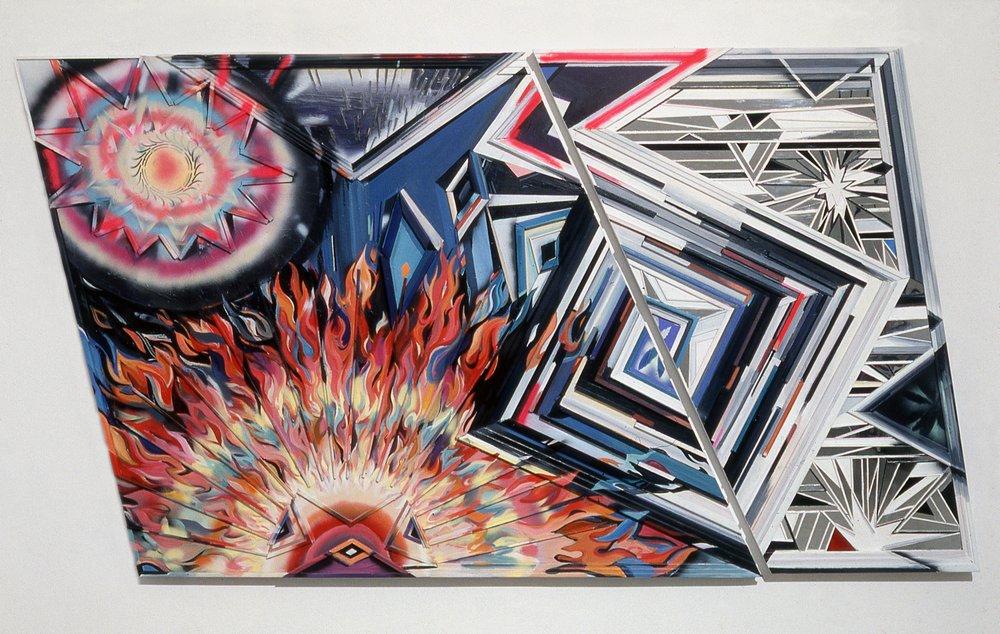 "Pride and Prejudice,  1989  Acrylic, plexiglass, mirror on wood bas relief panel  60"" x 109"""