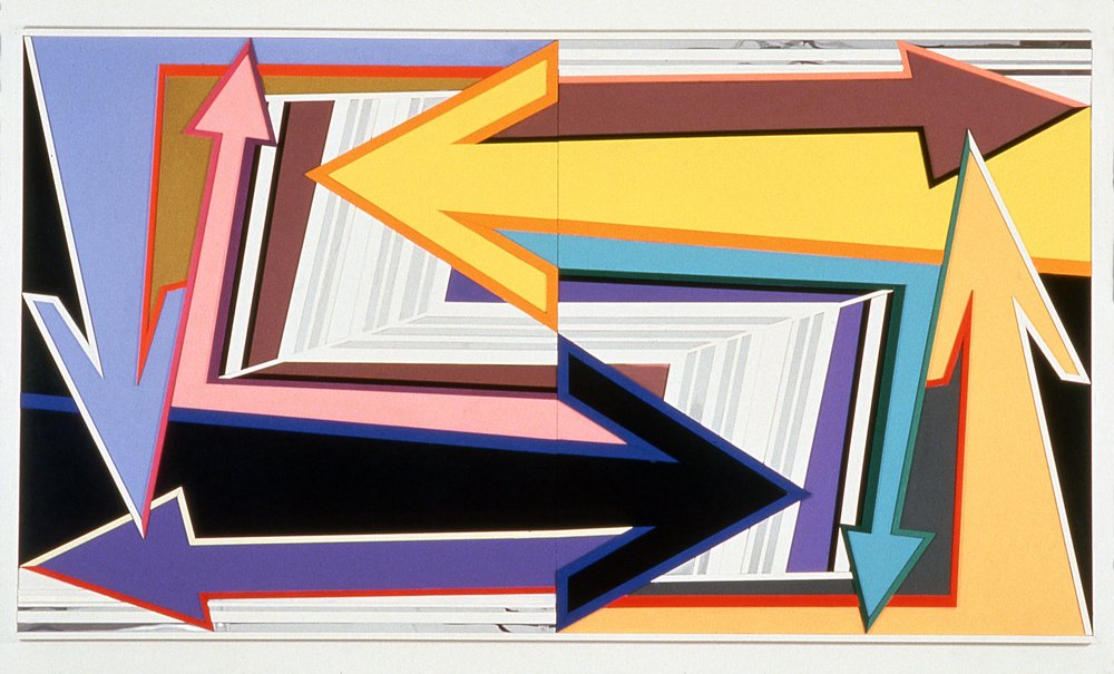 """Right Effort,  1997  Acrylic, mirror, plexiglass on bas relief wood  66"""" x 120"""""""