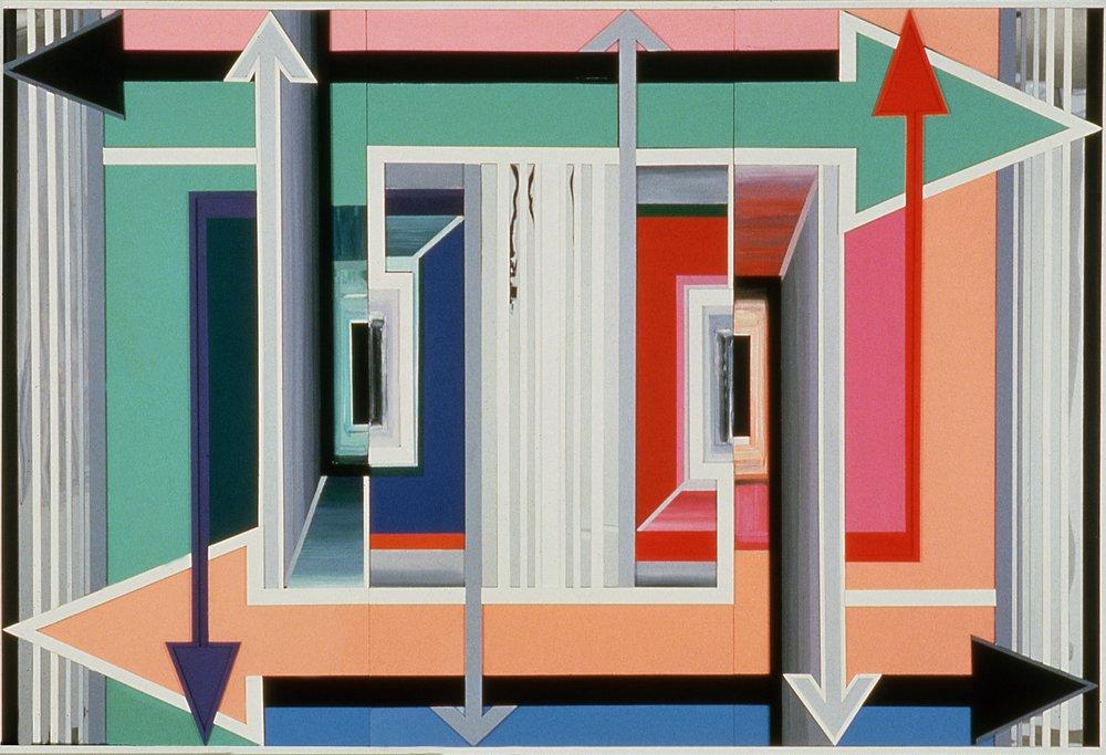 "Swinging Door,  1997  Acrylic, mirror, plexiglass on bas relief wood  72"" x 108"""