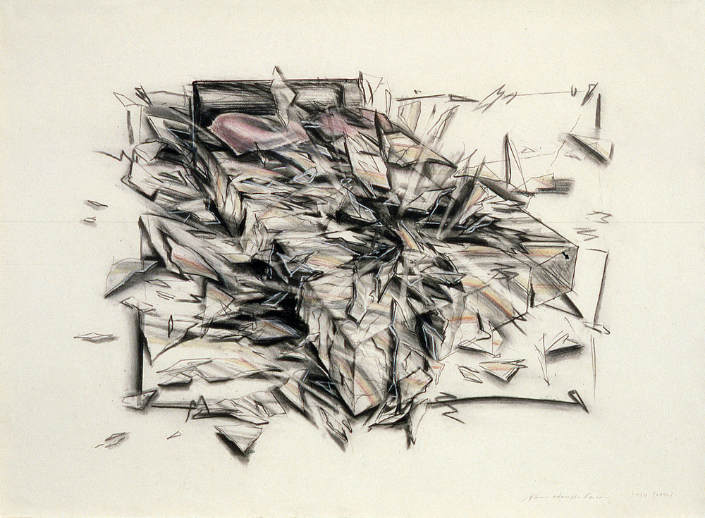 "Shattered Dreams ,  1973  Charcoal, pencil on paper  24"" x 36"""
