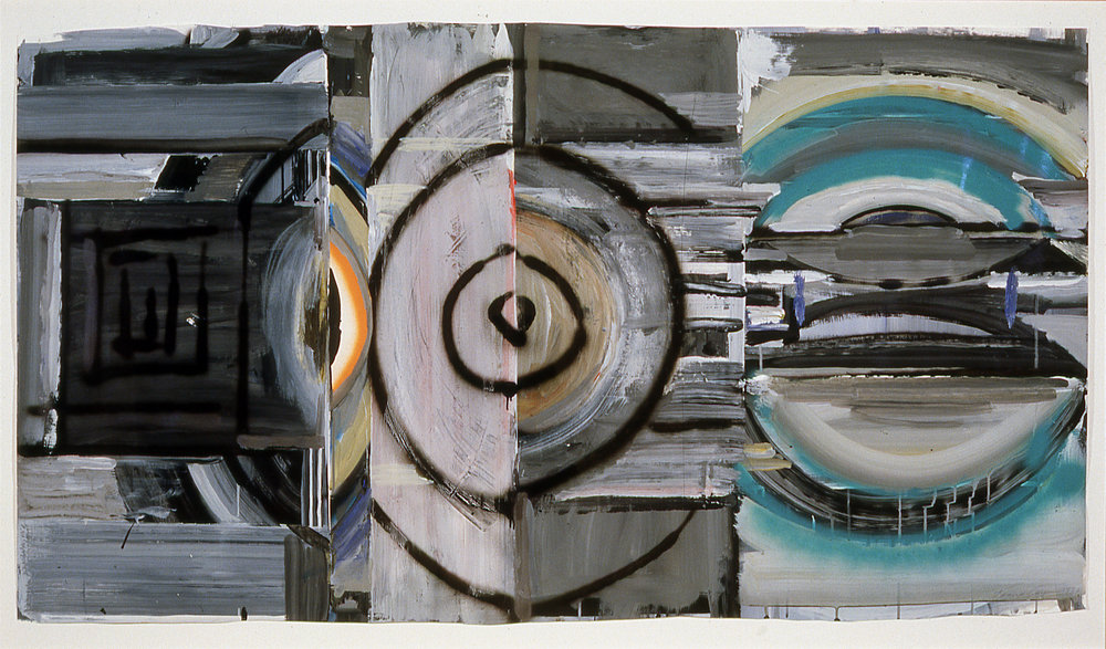 """Passing Greys,  1982  Acrylic on paper  33"""" x 62"""""""